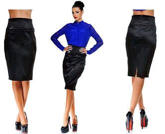 """Элегантная нарядная женская юбка средней длины """"Сатин Миди"""" (103-5202)"""