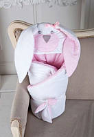 """Детский демисезонный конверт-одеяло на выписку """"Мамина Зайка"""" (двухслойный) ТМ MagBaby Розовый 101112"""