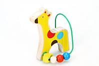 """Детский деревянный лабиринт из бус """"Жираф"""" ТМ Lucy&Leo LL128"""