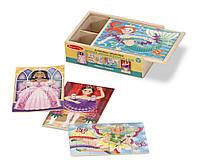 """Детский деревянный пазл """"Сказочные друзья"""" 4 шт. (Fanciful Friends Puzzles in a Box) ТМ Melissa & Doug MD9520"""