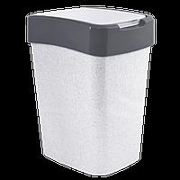 Ведро для мусора Евро 45л Бело-серый