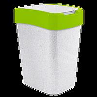Ведро для мусора Евро 45л Бело-зелёный