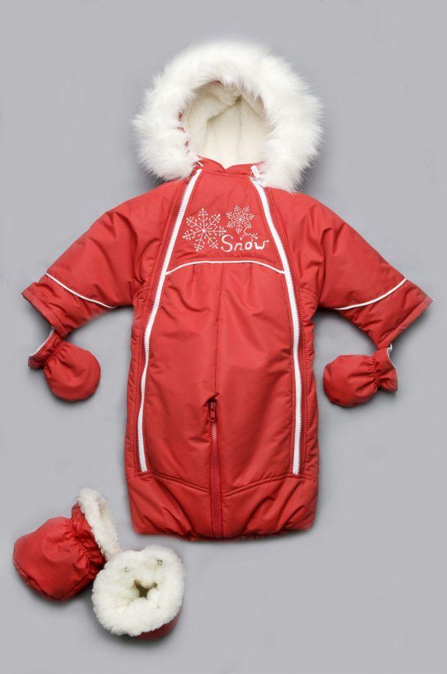 19454d316032 Детский комбинезон-трансформер на меху красный (зимний конверт для девочки  до ...
