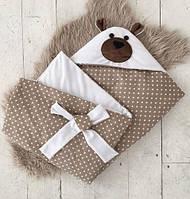 """Детский летний конверт-одеяло на выписку """"Мишка"""" (однослойный) ТМ MagBaby Белый 101102"""