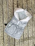 """Детский летний конверт-трансформер """"Мишка и друзья"""" серый (хлопок, трикотаж) ТМ MagBaby Разноцветный 110316"""