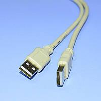 Шнур шт.USB-A - шт.USB-A V2.0 D4.5мм, серый, 2м  4-0056А
