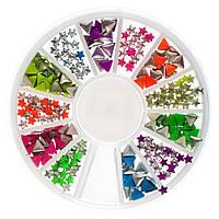 Металлический декор для ногтей в карусели, цветные звездочки, треугольники