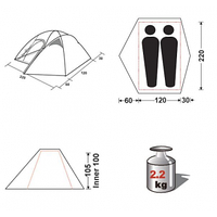 Палатка двухместная с тамбуром KingCamp ADVENTURE