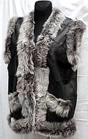 Натуральная женская безрукавка из кожи и овечьей шерсти