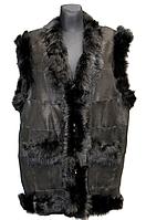 Женская безркавка из натуральной кожи и овечьей шерсти