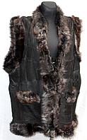 Женская жилетка из натуральной кожи и овечьей шерсти