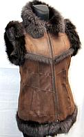 Натуральная женская жилетка Nebat (коричневый окрас)