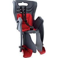 Детское заднее сиденье BELLELLI Little Duck Relax до 22кг (велокресло серый с красным) ТМ BELLELLI SAD-25-26