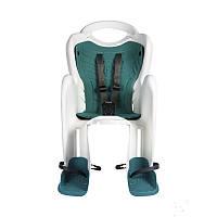 Детское заднее сиденье BELLELLI MR FOX Clamp до 22кг (велокресло бело-бирюзовое) ТМ BELLELLI