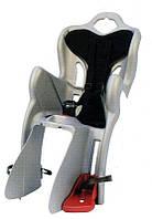 Детское заднее сиденье BELLELLI MR FOX Clamp на велосипед до 22кг (велосиденье серебристо-черное) ТМ BELLELLI