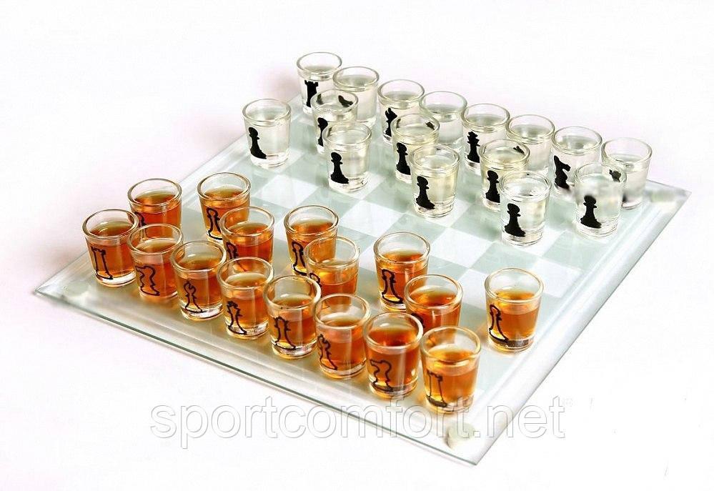 Алко шахматы с рюмками 25 см х 25 см (рюмки 15 мл)