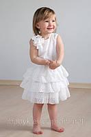 Детское платье с оборками (айвори), размер 98-116, для девочки 3-6 лет ТМ Модный карапуз 03-00511