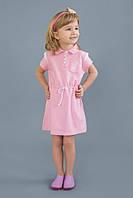 Детское хлопковое платье с кантиком, р. 98-128, для девочки от 3 до 8 лет Модный карапуз Розовый 03-00506-1
