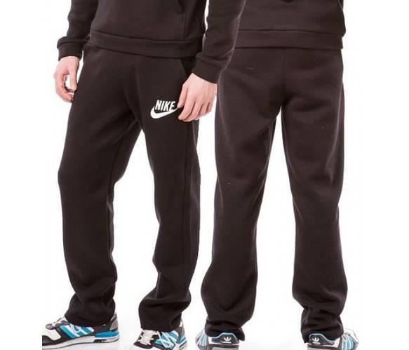 ТЕПЛЫЕ зимние спортивные штаны мужские на флисе Найк (Nike) черные прямые Украина