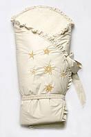 """Зимний конверт-одеяло для новорожденных на меху """"Сказка""""-2 Модный карапуз Молочный 07-00033-2"""