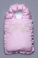 """Зимний конверт-одеяло на выписку """"Снежинка"""" на холофайбере Модный карапуз розовый"""