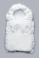 """Зимний конверт-одеяло на выписку """"Снежинки"""" на холофайбере Модный карапуз Серебристый 03-00468-3"""