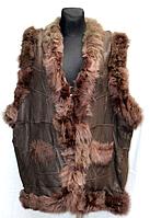 Натуральная женская жилетка из овчины коричневого окраса