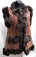 Стильная натуральная женская жилетка из кожи и овчины