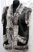 Жилет женский натуральный Nebat (из кожи и овечьей шерсти)