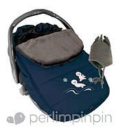 Зимний конверт-чехол для новорожденных в автокресло, коляску ТМ PERLIM PINPIN  (Канада) Синий