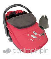 Зимний конверт-чехол для новорожденных в автокресло, коляску ТМ PERLIM PINPIN  (Канада) Коралл