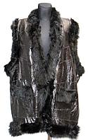 Женская теплая жилетка натуральная кожа и овечья шерсть
