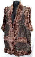 Женская теплая жилетка из натуральной кожи и овчинки