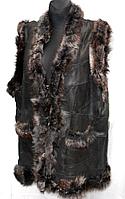 Жилетка натуральная женская материал кожа и овечья шерсть