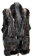 Женская теплая жилетка из натуральной кожи и овечьей шерсти класика