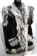 Женская теплая жилетка из натуральной кожи и овечьей шерсти серая опушка