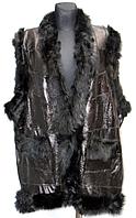 Женская теплая жилетка из натуральной кожи и овечьей шерсти