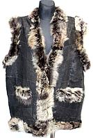Натуральная женская жилетка - кожа и овечья шерсть