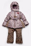 """Зимний костюм """"Цветочки"""" (куртка и полукомбинезон), для девочки 4-7 лет, Модный карапуз 03-00541-1"""