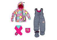 Зимний костюм для девочки 1-2,5 лет (куртка, полукомбинезон, шапочка, шарф, манишка) ТМ Deux par Deux F 504-00