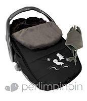 Зимний конверт-чехол для новорожденных в автокресло, коляску ТМ PERLIM PINPIN  (Канада) Черный