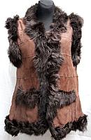 Коричневая натуральная женская жилетка Nebat