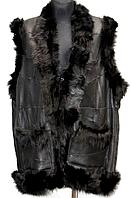 Женский натуральный жилет черный окрас