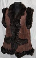 Теплая женская жилетка из натуральной кожи и овечьей шерсти