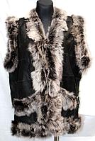 Женская теплая жилетка из натуральной кожи и шерсти овец