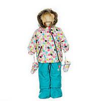 Зимний костюм для девочки 1-3 лет (куртка, полукомбинезон, шапочка) ТМ Deux par Deux A 500-581
