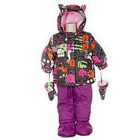 Зимний костюм для девочки 1-3 лет (куртка, полукомбинезон, шапочка, шарф) ТМ Deux par Deux C 502B-00