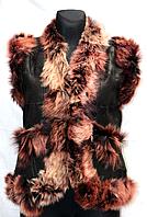Модна тепла жіноча натуральна жилетка з опушкою