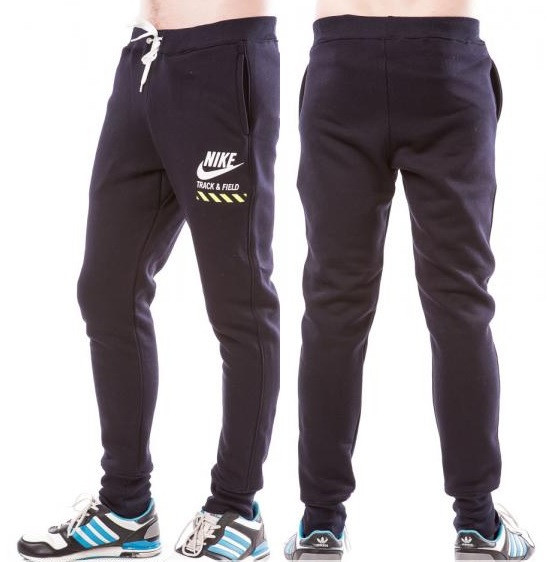 ТЕПЛЫЕ зимние спортивные брюки мужские на флисе в стиле Найк (Nike) темно синие на резинке внизу (манжет)