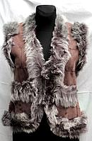 Натуральна шкіряна жилетка жіноча Nebat - сіре опушення